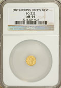 California Fractional Gold, Undated 25C (1853) Liberty Round 25 Cents, BG-222, R.2, MS64 NGC.NGC Census: (16/10). PCGS Population (103/16). (#10407)...