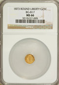 California Fractional Gold, 1873 25C Liberty Round 25 Cents, BG-817, R.3, MS66 NGC....