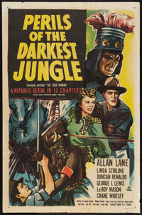 """The Tiger Woman (Republic, R-1951). One Sheet (27"""" X 41"""") Also released as Perils of the Darkest Jungle. Seria..."""