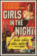 "Movie Posters:Crime, Girls in the Night (Universal International, 1953). One Sheet (27"" X 41""). Crime.. ..."