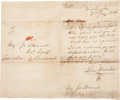 "Autographs:Statesmen, Sam Houston Autograph Letter Signed. One page, 9.5"" x 7.75"",January 2, 1836, Washington[-on-the-Brazos], to Major Joseph Bo..."