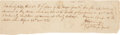"Autographs:Military Figures, James W. Fannin Jr. Autograph Signed Appraisal for Horse Killed during the Battle of Concepcion, 8"" x 2.25"", November 23, 18..."