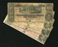Confederate Notes:1864 Issues, T68 $10 1864 Four Examples.. ... (Total: 4)