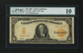 Large Size:Gold Certificates, Fr. 1169 $10 1907 Gold Certificate PMG Very Good 10....