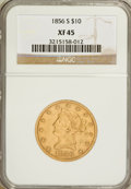 Liberty Eagles: , 1856-S $10 XF45 NGC. NGC Census: (41/167). PCGS Population (23/91).Mintage: 68,000. Numismedia Wsl. Price for problem free...