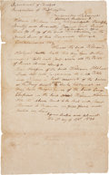 """Autographs:Military Figures, [James """"Jim"""" Bowie] William Oldham Document Signed authorizing Oldham to take control of the estate of James Bowie. One page..."""