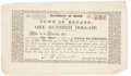 """Miscellaneous:Ephemera, Town of Menard Stock Certificate. Unengrossed, 7.25"""" x 4.25"""", n.d., numbered 340. """"Certificate of Stock in the Town of Men..."""