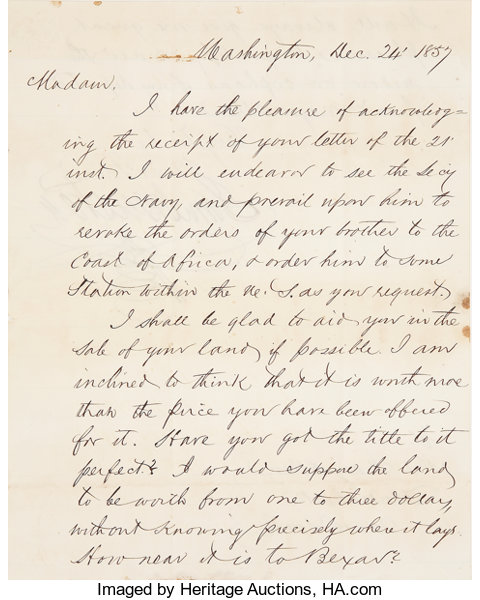 Sam Houston Autograph Letter Signed As A U S Senator From Texas Lot 45056 Heritage Auctions