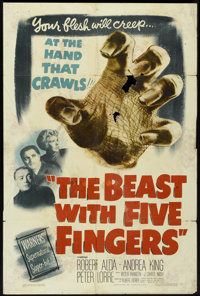 """The Beast with Five Fingers (Warner Brothers, 1947). One Sheet (27"""" X 41""""). Horror"""