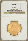 Liberty Eagles: , 1893-S $10 MS61 NGC. NGC Census: (193/123). PCGS Population(73/133). Mintage: 141,350. Numismedia Wsl. Price for problem f...