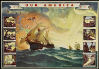 "Our America (Coca-Cola Bottling Company, 1943). Teacher's Kit Charts (3) (22"" X 32""). Transportation. ... (Tot..."