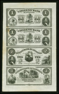 Obsoletes By State:Louisiana, New Orleans, LA- Citizens' Bank of Louisiana $1-$1-$2-$3 Uncut Sheet. ... (Total: 1 sheet)