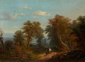 Fine Art - Painting, American:Antique  (Pre 1900), PAUL WEBER (German/American, 1823-1916). Landscape with CoveredWagon, 1860. Oil on canvas. 14 x 20 inches (35.6 x 50.8 ...