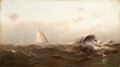 Fine Art - Painting, American:Antique  (Pre 1900), ARTHUR QUARTLEY (American, 1839-1886). Morning OffMarblehead, 1877. Oil on canvas. 10-1/2 x 19 inches (26.7 x48.3 cm)...