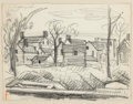 Fine Art - Work on Paper:Drawing, OSCAR FLORIANUS BLUEMNER (American, 1867-1938). NorthBloomfield, 1925. Graphite on paper. 4-1/2 x 6-1/4 inches (11.4x ...
