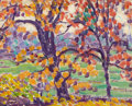 Fine Art - Painting, American:Modern  (1900 1949)  , MAUDE DREIN BRYANT (American, 1880-1946). Trees in the Fall,circa 1915. Oil on panel. 8 x 10 inches (20.3 x 25.4 cm). A...