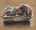Fine Art - Work on Paper:Drawing, JANET I. FISH (American, b. 1938). Red Onions, 1976. Pastelon brown paper. 14 x 16-1/2 inches (35.6 x 41.9 cm). Signed ...
