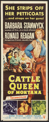 "Cattle Queen of Montana (RKO, 1954). Insert (14"" X 36""), Lobby Cards (3) (11"" X 14""), and Still (8&q..."