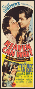 """Movie Posters:Comedy, Heaven Can Wait (20th Century Fox, 1943). Insert (14"""" X 36"""").Comedy.. ..."""