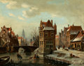 Fine Art - Painting, European:Antique  (Pre 1900), JOHANNES FRANCISCUS SPOHLER (Dutch, 1853-1894). Canal Scene withSkaters. Oil on canvas. 13 x 17-3/4 inches (33.0 x 45.1...