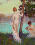 Fine Art - Painting, American:Modern  (1900 1949)  , EDWARD DUFNER (American, 1871-1957). By the River. Oil oncanvas. 46-1/2 x 34-1/4 inches (118.1 x 87.0 cm). Signed lower...