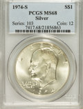 Eisenhower Dollars: , 1974-S $1 Silver MS68 PCGS. PCGS Population (853/3). NGC Census: (119/1). Mintage: 1,900,156. Numismedia Wsl. Price for pro...