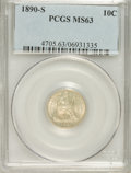 Seated Dimes: , 1890-S 10C MS63 PCGS. PCGS Population (15/21). NGC Census: (14/43).Mintage: 1,423,076. Numismedia Wsl. Price for problem f...