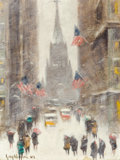 Fine Art - Painting, American:Modern  (1900 1949)  , GUY CARLETON WIGGINS (American, 1883-1962). Wall StreetWinter. Oil on canvasboard. 12 x 16 inches (30.5 x 40.6 cm).Sig...