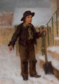 JOHN GEORGE BROWN (American, 1831-1913) Get'n Ready to Shovel, 1862 Oil on canvas 12 x 9 inches (