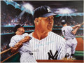 Baseball Collectibles:Others, Mickey Mantle Signed Print by Robert Stephen Simon. ...