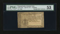 Colonial Notes:Pennsylvania, Pennsylvania April 10, 1777 2s PMG About Uncirculated 53....