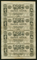 Obsoletes By State:Louisiana, New Orleans, LA- Canal Bank $20-$20-$20-$20 Uncut Sheet. ...