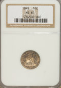 Seated Dimes: , 1845 10C MS61 NGC. NGC Census: (2/86). PCGS Population (5/53).Mintage: 1,755,000. Numismedia Wsl. Price for problem free N...