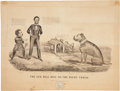 """Political:Small Paper (pre-1896), Abraham Lincoln: Currier & Ives Mezzotint, """"The Old Bull Dog on the Right Track""""...."""