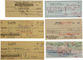 Movie/TV Memorabilia:Autographs and Signed Items, Vincent Price and Other Actors Signed Checks.... (Total: 6 )