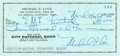 Music Memorabilia:Autographs and Signed Items, Beach Boys Related - Mike Love Signed Check....