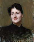 Fine Art - Painting, American:Antique  (Pre 1900), DENNIS MILLER BUNKER (American, 1861-1890). Portrait of a Woman, circa 1890. Oil on canvas. 22 x 18 inches (55.9 x 45.7 ...