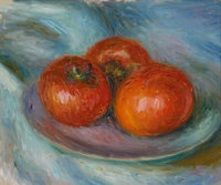 WILLIAM JAMES GLACKENS (American, 1870-1938) Three Tomatoes, circa 1915 Oil on wood panel 8-1/2 x