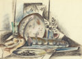 Fine Art - Work on Paper:Drawing, PRESTON DICKINSON (American, 1891-1930). Still Life withCondiments (The Provolone Cheese), circa 1925. Pastel on paper...