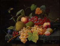 SEVERIN ROESEN (German/American, 1805-1882) Fruit Still Life with Moth, circa 1860-1872 Oil on board