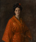 Fine Art - Painting, American:Modern  (1900 1949)  , WILLIAM MERRITT CHASE (American, 1849-1916). The Red Kimona(Girl in Red) (The Artist's Daughter), circa 1908. Oil on ca...