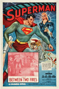 "Movie Posters:Serial, Superman (Columbia, 1948). One Sheet (27"" X 41"") Chapter 10 --""Between Two Fires."". ..."