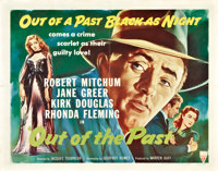 "Out of the Past (RKO, R-1953). Half Sheet (22"" X 28"")"