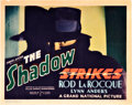 "Movie Posters:Mystery, The Shadow Strikes (Grand National, 1937). Title Lobby Card (11"" X14"").. ..."