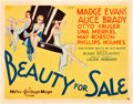 "Movie Posters:Drama, Beauty for Sale (MGM, 1933). Title Lobby Card (11"" X 14"").. ..."