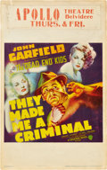 "Movie Posters:Crime, They Made Me a Criminal (Warner Brothers, 1939). Window Card (14"" X22"").. ..."