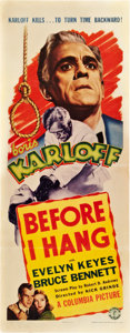 """Movie Posters:Horror, Before I Hang (Columbia, 1940). Insert (14"""" X 36"""").. ..."""