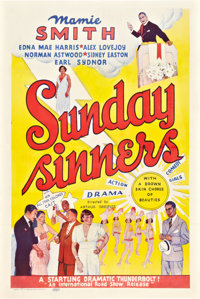 "Sunday Sinners (International Road Shows, 1940). One Sheet (27"" X 41"")"