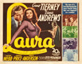 "Movie Posters:Film Noir, Laura (20th Century Fox, 1944). Autographed Title Lobby Card (11"" X14"").. ..."