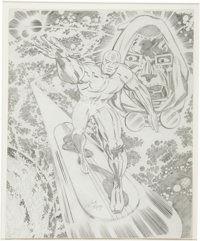 Jack Kirby (and Possible Studio Assistant) Silver Surfer and Doctor Doom Large Pencil Sketch Original Art